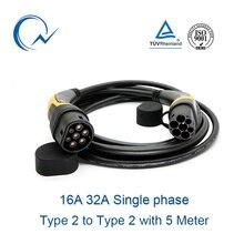 16A 32A câble EV monophasé Type 2 à Type 2   IEC62196 EV, fiche de charge avec câble de 5 mètres TUV/UL femelle à mâle EV