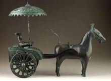 Usine de décoration en bronze pur laiton   Vieille Collection Vintage Antique en vieux Bronze vif fait à la main, voitures équitation uniques, Statue