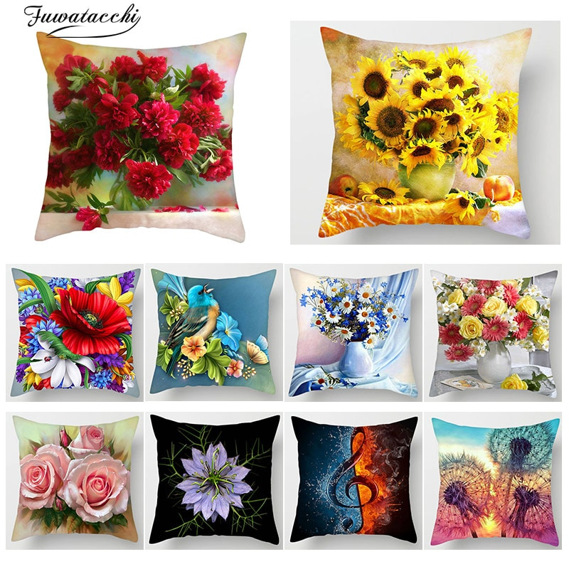 Fuwatacchi, cubierta de cojín estampada Floral, funda de cojín, funda de almohada decorativa para sofá, diente de león, rosa o girasol, kussenhoes