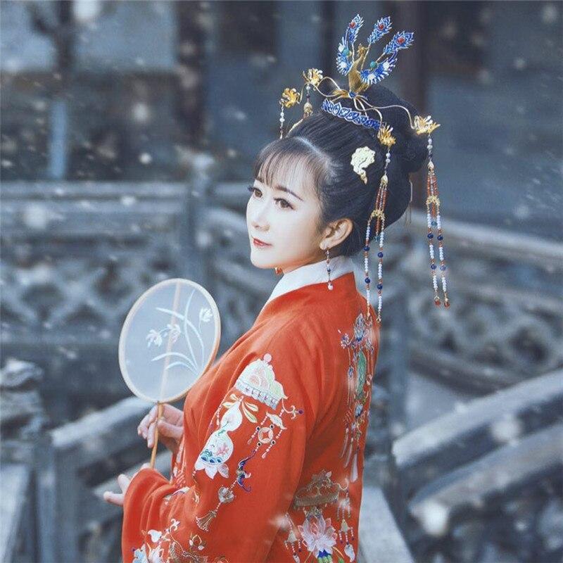 LYZ Qi Ming Tang-قبعة مطلية بالمينا فينيكس ، تاج صيني عتيق ، نحت يدوي ، مجوهرات شعر الزفاف