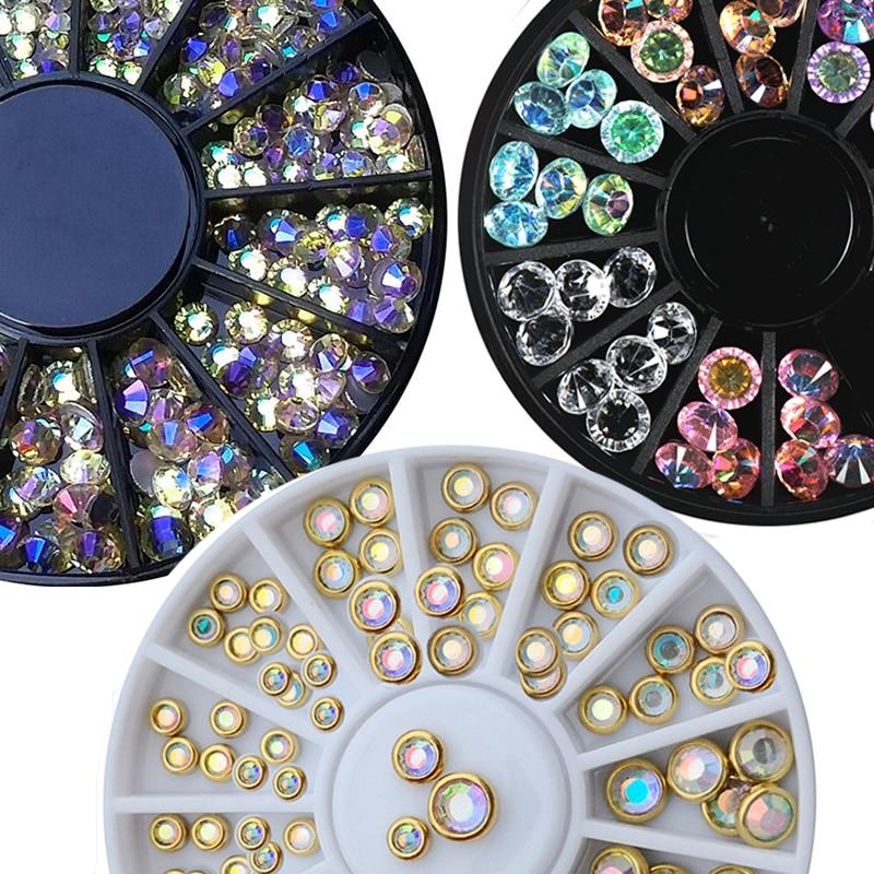 1 мм 2 мм 3 мм, смешанный хамелеон, Кристальный камень, камень для ногтей, горный хрусталь в колесах для акрилового/стеклянного маникюра, 3D, Стразы для ногтей