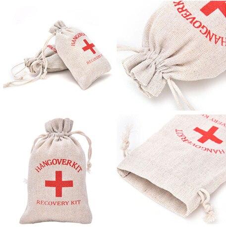 10 teile/los Natürliche Farbe Leinen Beutel Kreuz Muster Kordelzug Geschenk Taschen Schmuck Verpackung Baumwolle Taschen