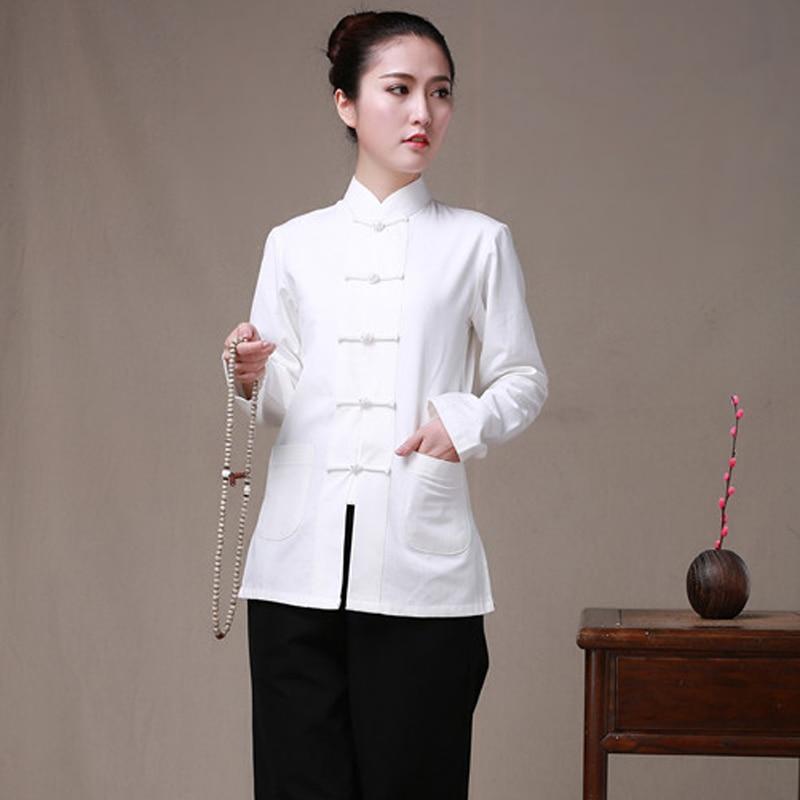 Long Sleeve Cotton Traditional Chinese Clothes Tang Suit Top Women Kung Fu Tai Chi Uniform Shirt Blouse Hanfu femal pure costume