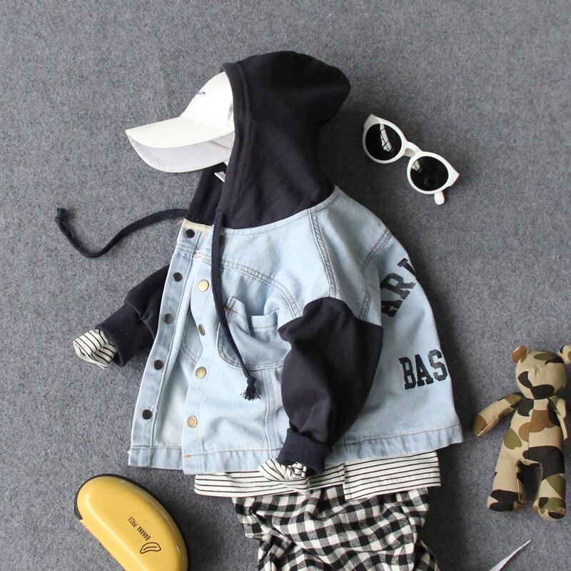 90-130cm nuevo 2019 primavera chicos moda estilo Casual carta Denim Patchwork chaqueta con capucha niños chaqueta de otoño primavera