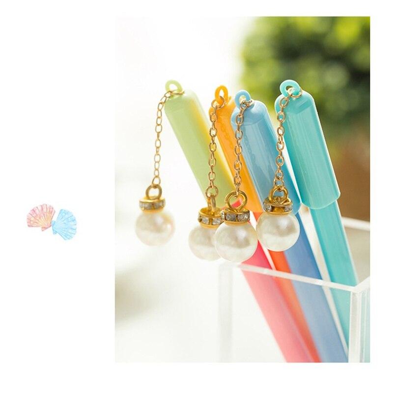 30 шт./лот, милая жемчужная шариковая ручка синего цвета, гелевая чернильная шариковая ручка, милые детские подарки, канцелярские принадлежн...