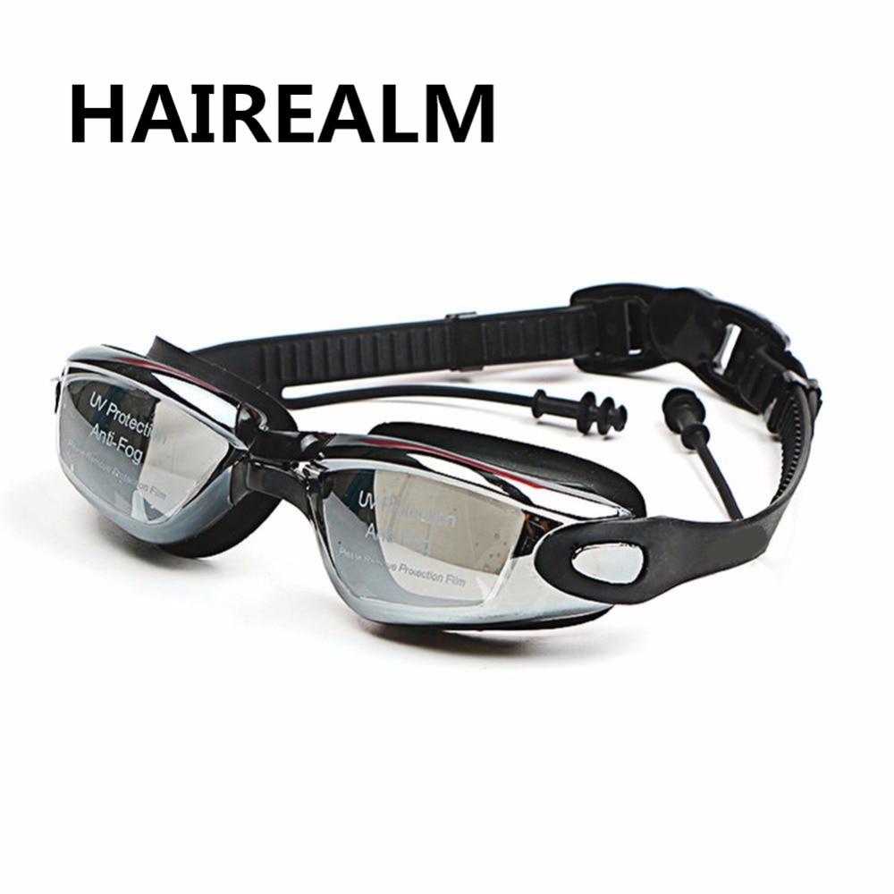 Gafas de natación miopía de silicona profesional Anti-niebla UV dioptrías deportes gafas de natación con tapones para los oídos para hombres y mujeres