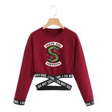 Riverdale Crop Top Sweatshirt Harajuku Lange Mouwen Cropped Sweater Vrouwen South Side Serpent Print Instagram Kleding Trainingspak