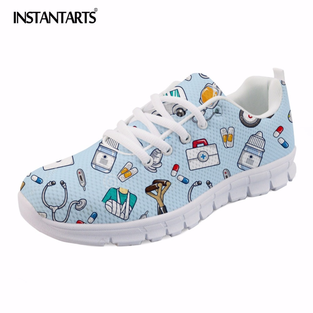 INSTANTARTS Spring Nurse Flat Shoes Women Cute Cartoon Nurses Printed Women's Sneakers Shoes Breath Mesh Flats Zapatos de Mujer
