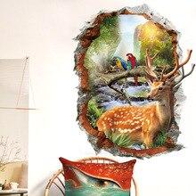 Sika cerf-autocollants muraux 3D paysage naturel   Faux papiers peints décoratifs pour la maison, fenêtre ou paysage, décor danimaux pour la maison