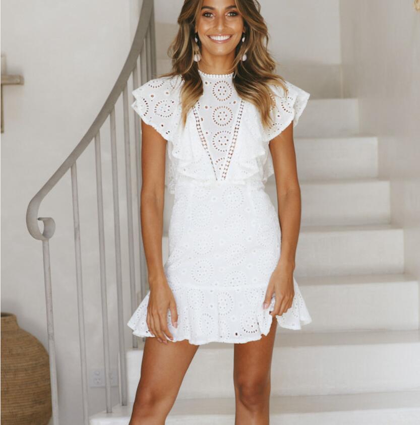 Vestido de las nuevas mujeres sexy encaje bordado costura sin mangas con volantes vestido de fiesta de verano blanco elegante mini vestidos de fiesta