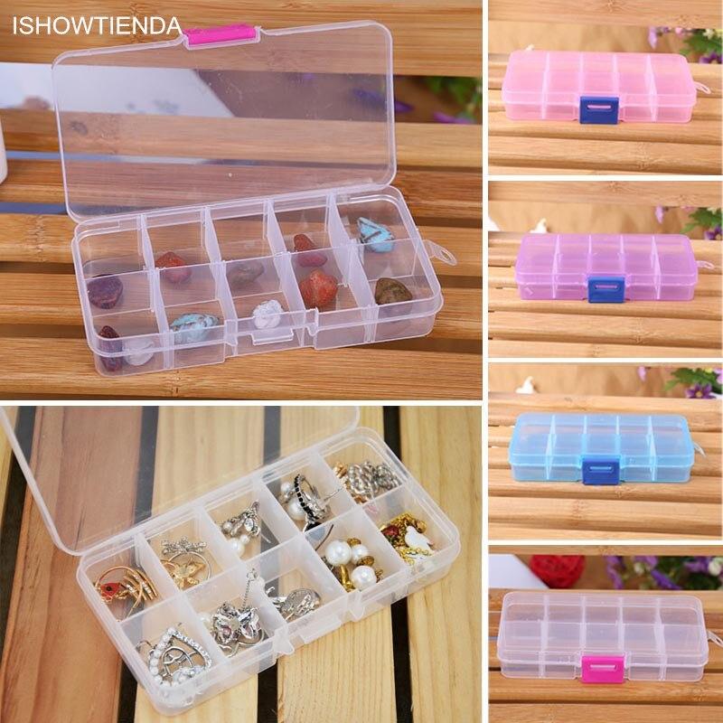 Neue Heiße Neue 1PC 13*6.5*2 cm 10 Grids Einstellbare Schmuck Perlen Pillen Nail art Tipps hause Organisieren Lagerung Kunststoff Box Fall Neue