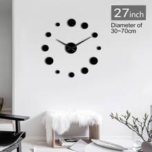 1 шт Круглые DIY большие акриловые настенные часы современный дизайн простые настенные часы гигантские 3D зеркальные Безрамные настенные час...