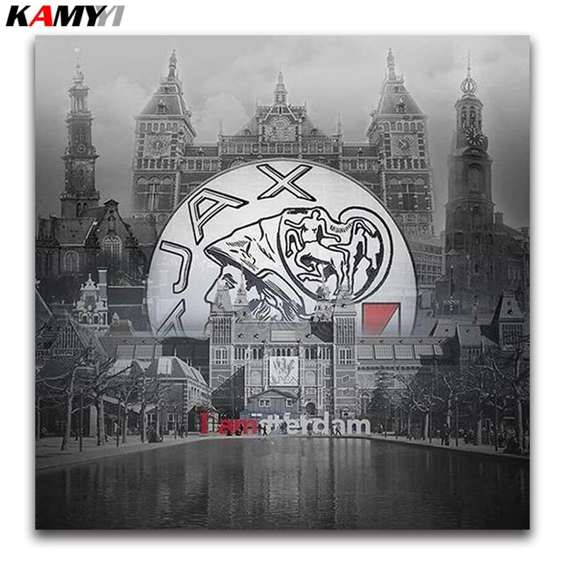 landscape 5D Diy diamond painting cross stitch City Scenery Full round Diamond embroidery Amsterdam full Diamond mosaic big ico