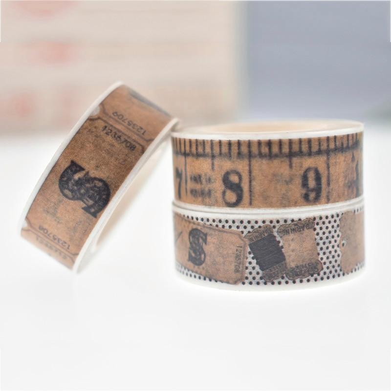 Estilo de medida do vintage kawaii decorativo washi fita diy scrapbooking masking fita material de escritório escola coreano papelaria