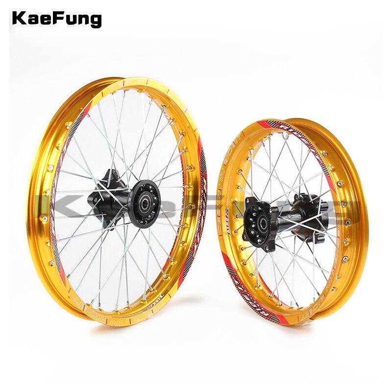 """Oro 12mm 15mm frente 1,40-14 pulgadas trasero 1,85-12 """"aleación de aluminio llanta para 160cc 150CC Dirt bike 12 14 rueda"""