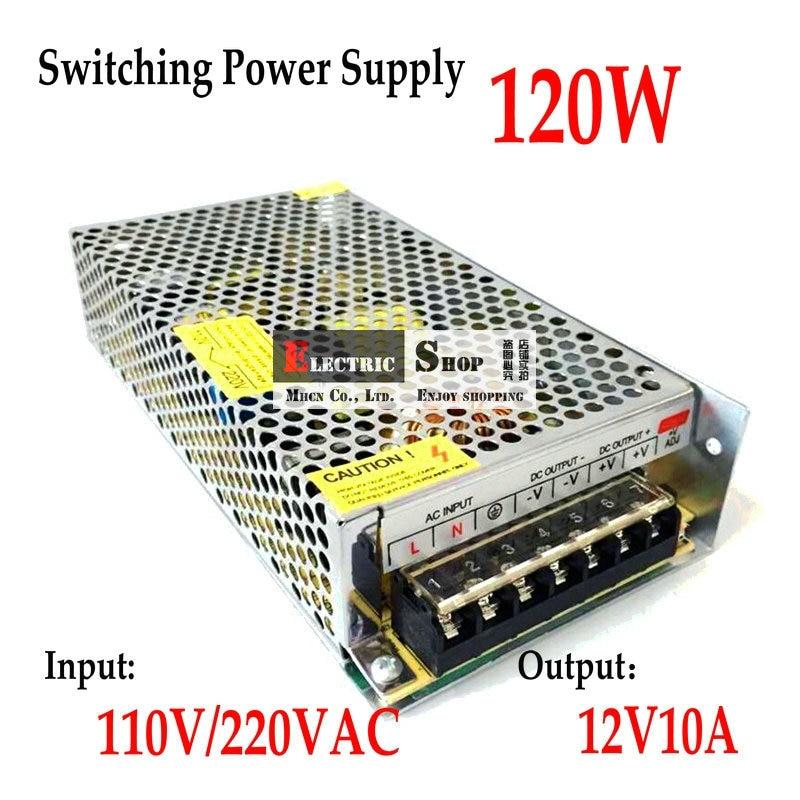 FreeShipping 12VDC 10A 120 Watt Schaltnetzteil Treiber für Monitor kamera/Led-streifen AC 100 ~ 240 V eingang zu DC 12 V