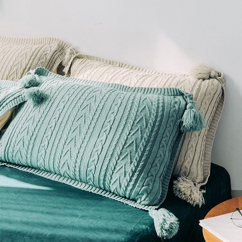 48X74CM verde sólido/gris/rosa/amarillo de punto de lana funda de almohada con borla jaquard funda de almohada individual cálida cama