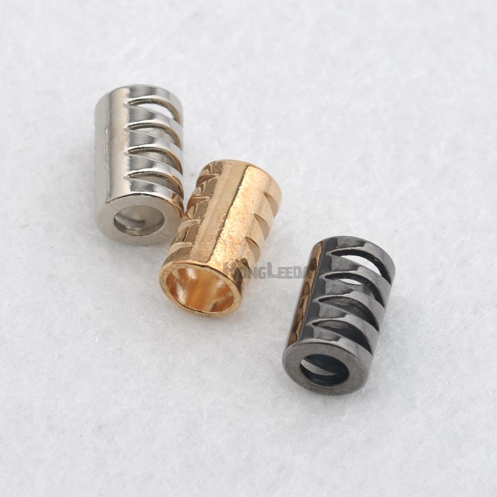 90 Uds extremos de cable tapa de bloqueo 25*7,5mm metal aleación de zinc cuerda con topes extremos bloqueo para 5mm bung negro/plata/oro bell-010