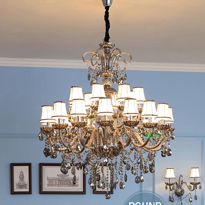 Gran cristal para sala techo alto cristal lámpara Villa escalera restaurante humo gris vela Lámparas Lámparas de araña de cristal  Candelabro o portavelas grande de metal Araña de cristal lujosamente decorada