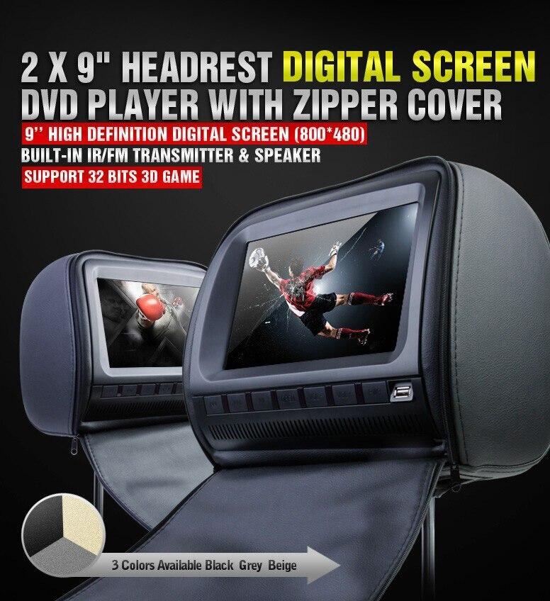 Un par 2X9 pulgadas reposacabezas del coche reproductor de DVD con la cubierta de la cremallera, USB/SD, juego de 32 bits, IR, FM, TV (opcional), 3 colores