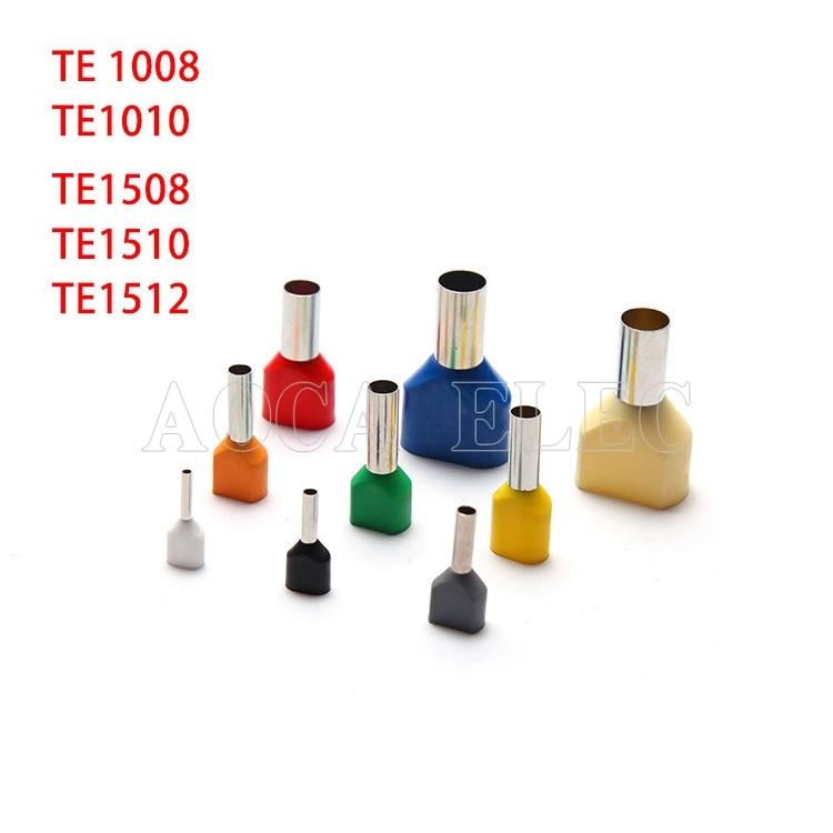 100 Uds tipo de tubo doble aislado de presión en frío terminal aguja Multicolor opcional TE1512 TE1008 TE 1010 TE1508 TE1512