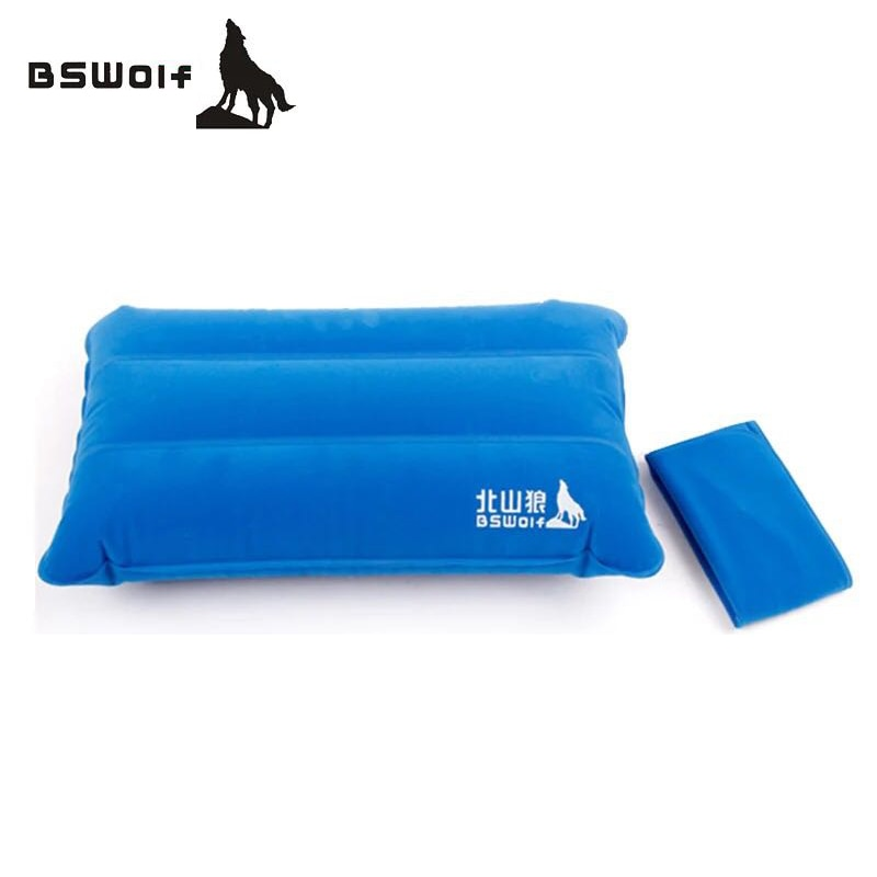 BSWolf, almohada inflable portátil para exteriores, almohada de viaje de Flocado de doble cara, cojín inflable, protector de reposacabeza de cuello suave