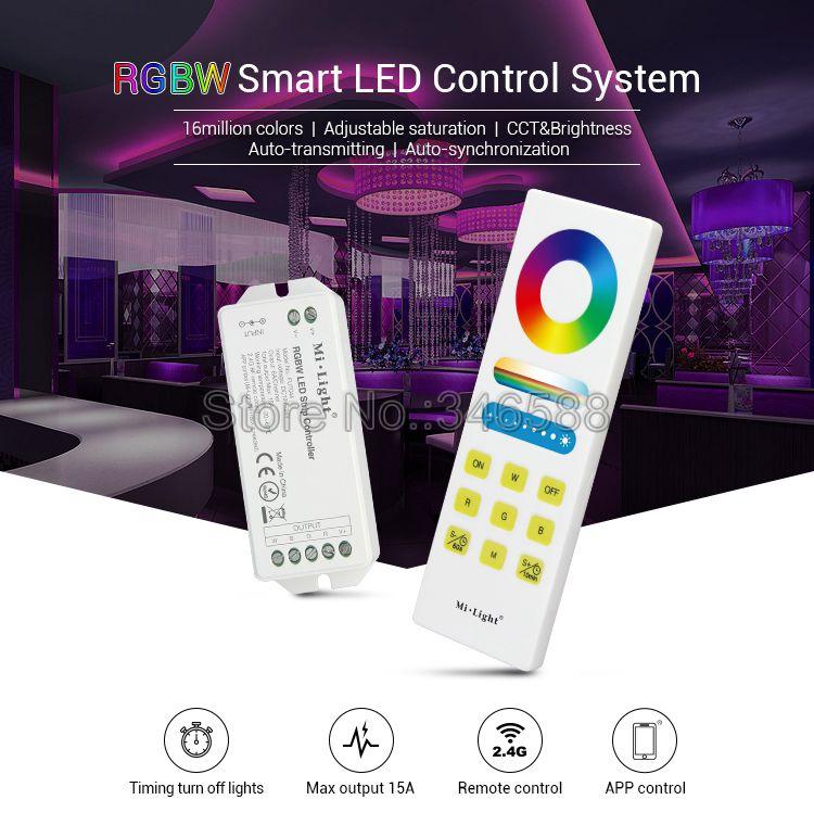 Mi luz FUT044A RGBW controlador de tira led DC12V 24V 6A/CH Max 15A con 2,4G inalámbrico completamente táctil remoto compatible con wifi