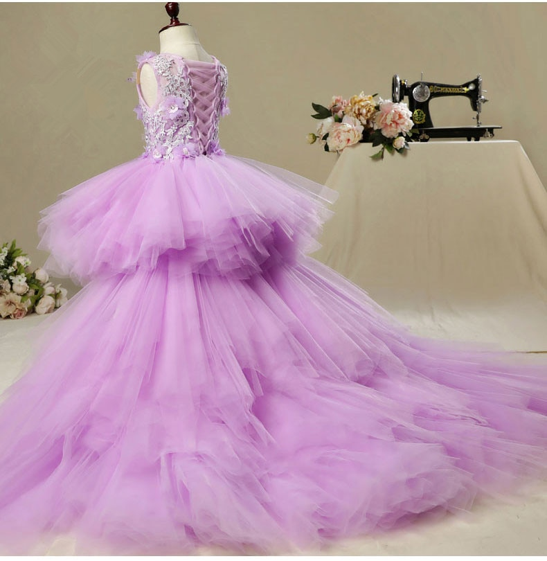 Glizt Long Trailing Girl Pageant Evening Gowns Viole Tulle Floral Flower Girl Dresses For Wedding Ki