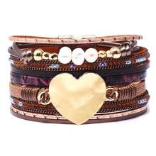 Herz Form Perlen Kette Link Braun Vintage Schwarz Mode Manschette Armreif Leder Armbänder Frauen Weibliche Perle Schmuck Zubehör