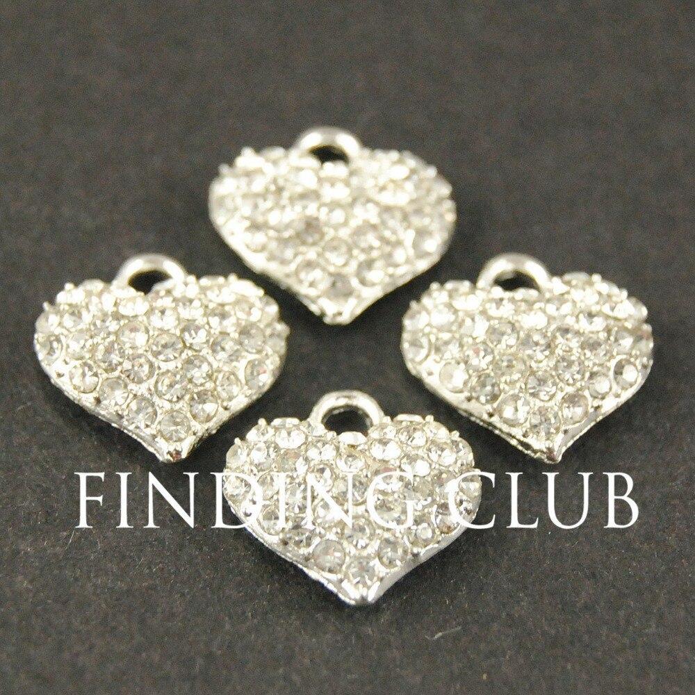 20 шт серебряный цвет золотой тон Кристалл Стразы Сердце Подвески DIY металлический браслет ожерелье ювелирных изделий RS467
