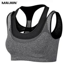 MAIJION Absorb Sweat Quick Dry Shockproof Fake Two-piece Sports Bra Fitness Underwear Running Sleep Vest Crop Top Seamless Bras