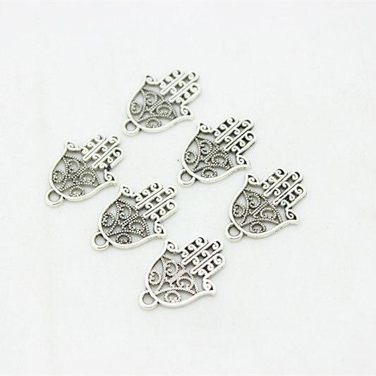 Dulce campana 80 unids/lote, aleación de Metal antigua, mini mano de Fátima, dijes de joyería de mano 15*21mm D0939