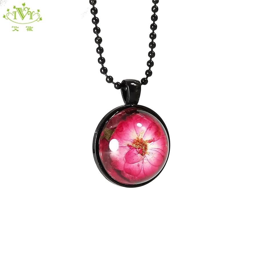 Hecho a mano Simple artístico eterno naturaleza Rosa seca flor resina colgante negro cadena collar mujer moda encanto accesorios IVR