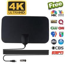 Kebidumei 4K 25DB High Gain HD TV Box DTV Digital Eu-stecker 50 Meilen Booster Aktive Innen TV Antenne luft HD Flache Design Neueste