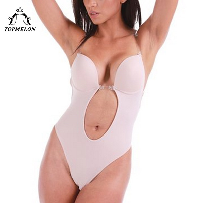 TOPMELON Backless Invisible Bra Nude Bodysuit Seamless Bras Body Shaper Lingerie Women Plunge Adjustable Strap Cut Out Brassiere