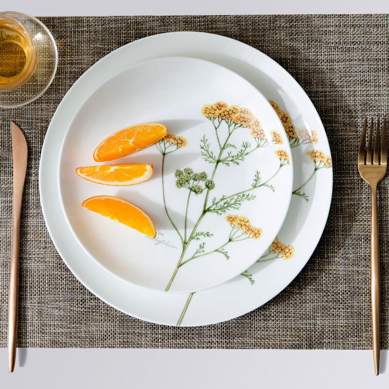 Plant pattern dish diner plate Western dish steak plate creative personality plate fruit ceramic tray bone china cutlery dish