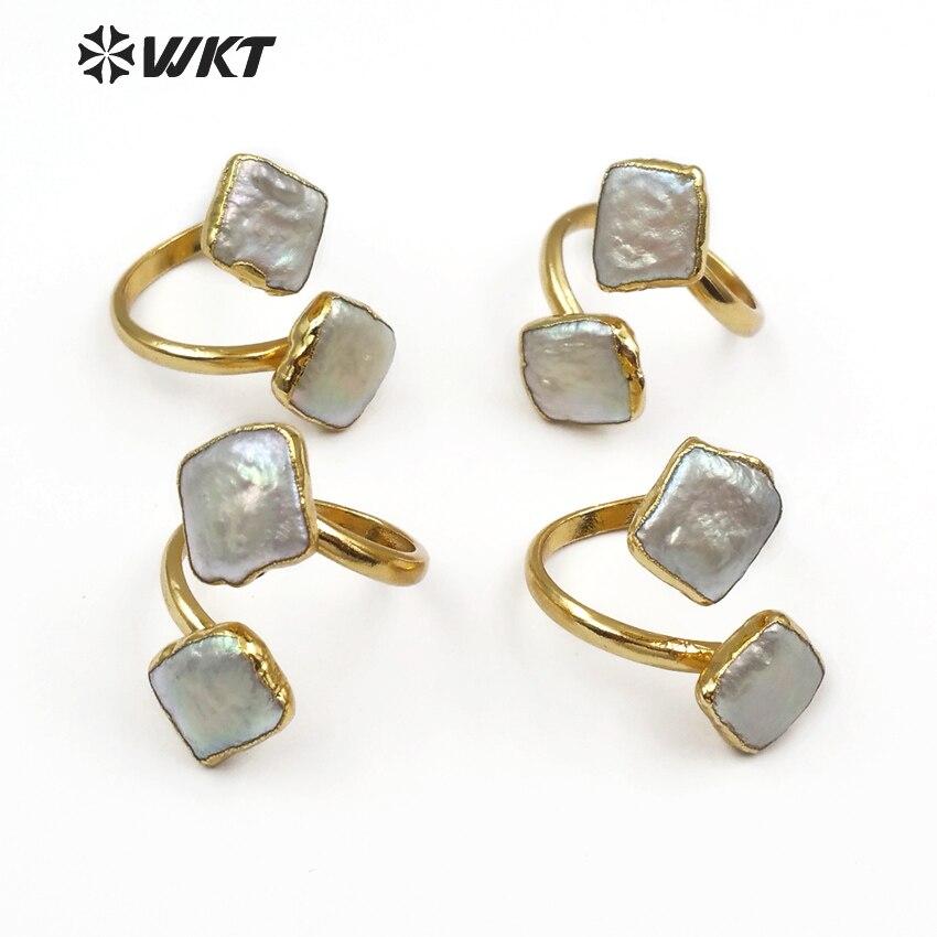 WT-R325 WKT خواتم لؤلؤ المياه العذبة الطبيعية مزدوجة مربعة الشكل قابل للتعديل خواتم مطلية بالذهب معدن جديد مصمم مجوهرات النساء