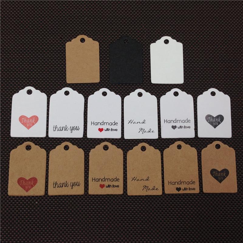 100 piezas 3x2 cm Linda cabeza de festoneado mini hecho a mano con amor Kraft etiquetas de papel gracias etiquetas etiqueta de regalo etiquetas de precio