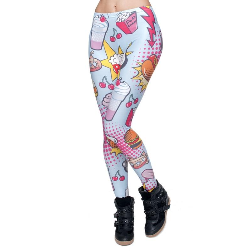 Moda comida rápida comix impressão 3d punk senhoras legging calças elásticas calças casuais leggings