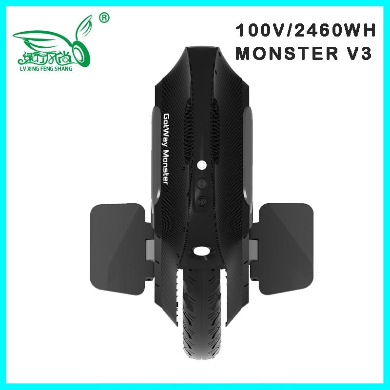 2020 Gotway Monster v3 100V 1845WH/2460WH monocycle électrique Monowheel 2500W carbone noir vendeur mise à niveau