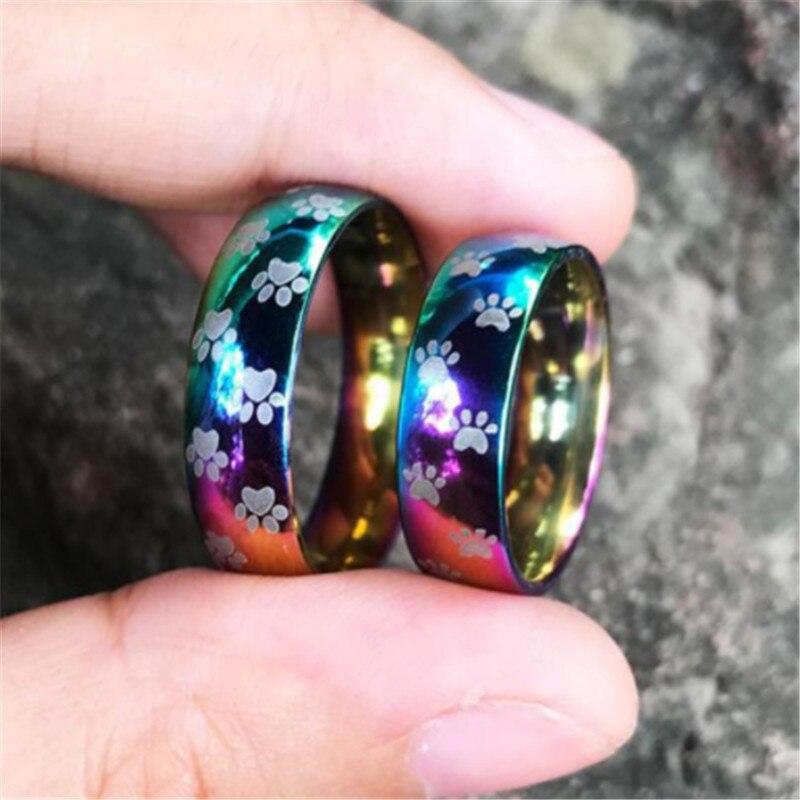 2020 anillo de arcoíris de acero inoxidable a la moda para mujer, huella de Animal, pata de oso, perro, nuevo modelo, anillo de compromiso, gran oferta