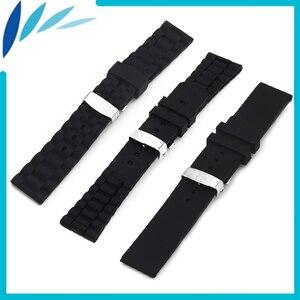 Silicone Rubber Watch Band 20mm 22mm 24mm for Breitling Strap Wrist Loop Belt Bracelet Black + Spring Bar + Tool