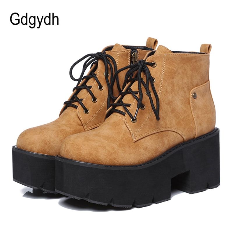 Gdgydh-حذاء نسائي بنعل سميك ، حذاء نسائي بكعب سميك ، نمط بانك ، قوطي ، دانتيل ، أسود وبني ، جلد مريح ، ربيع 2021