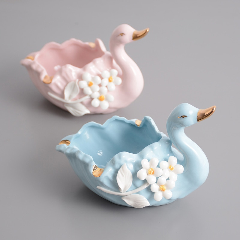Cenicero creativo de cisne azul Rosa cerámica Cenicero de moda decoración del hogar Cenicero bandeja de fumar regalo accesorios de interior