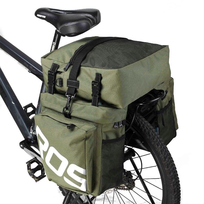ROSWHEEL 3 en 1 bicicleta 35L bicicleta de carretera MTB trasero Rack bolsa bicicleta nueva portaequipajes bolsa verde militar bicicleta con cubierta de lluvia