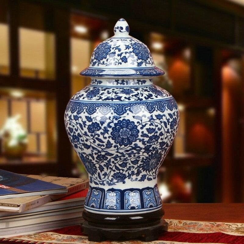Jarrón de porcelana Azul Antiguo y blanca con tanque General de loto, jarras de jengibre para decoración del hogar Jingdezhen