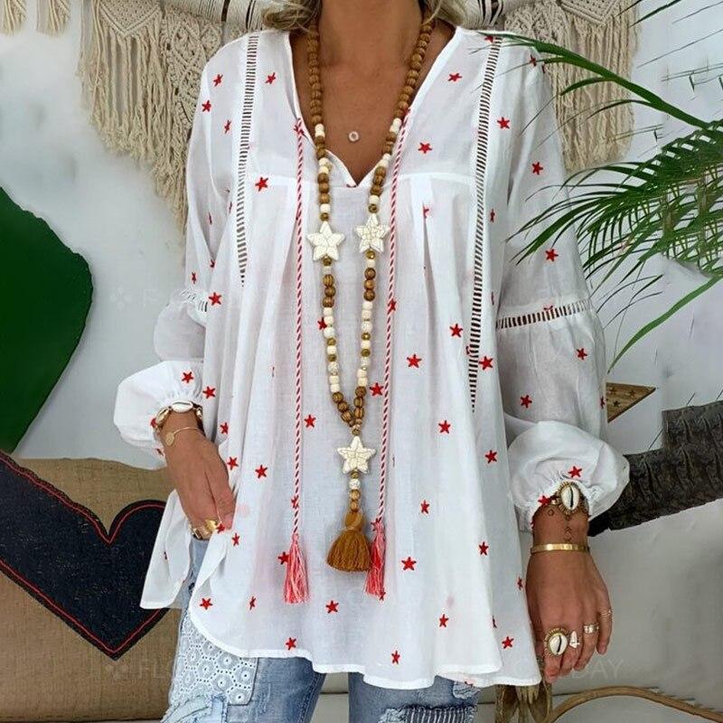 Blusa blanca elegante de manga larga para mujer de talla grande 4XL impreso bohemio ropa mujer primavera 2020 Sexy Tops y blusas para mujer