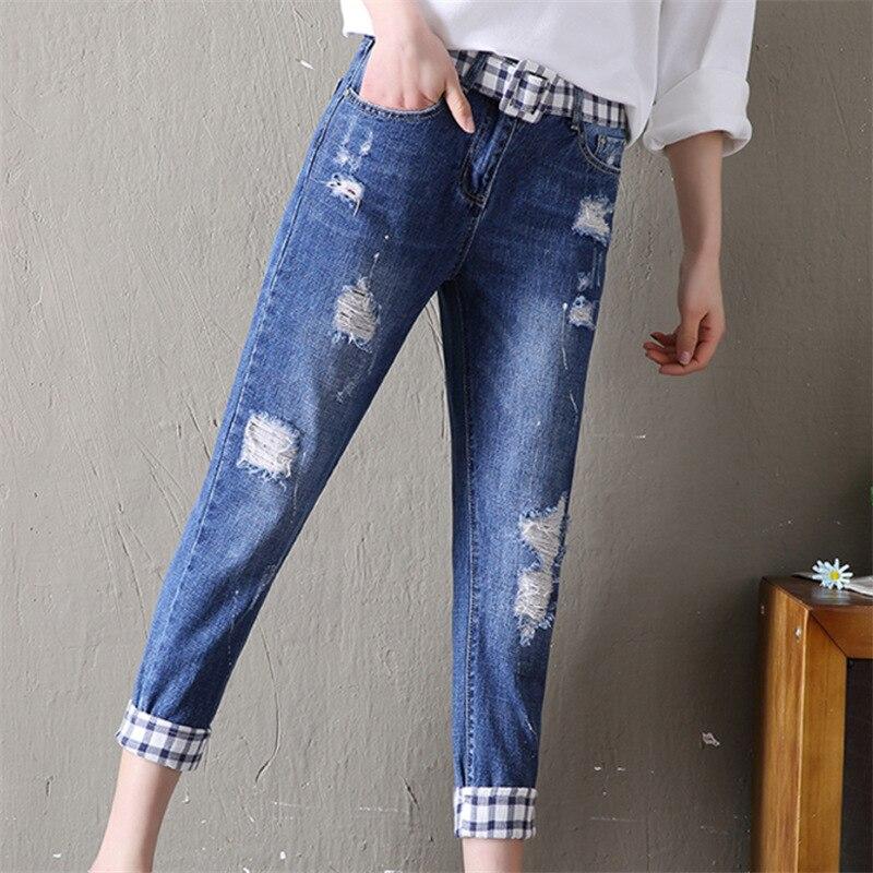 Новинка 2018, узкие брюки-карандаш, винтажные джинсы с высокой талией, новые женские брюки, длинные брюки, свободные ковбойские брюки