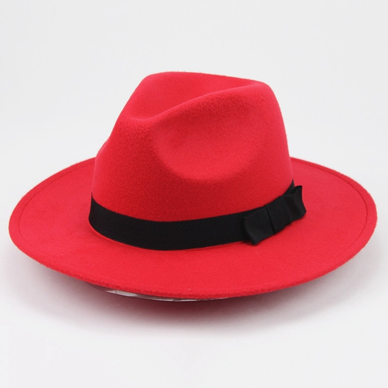 2019 Vintage Men Women Hard Woolen Felt Gangster Trilby Hat Wide Brim Gentleman Elegant Lady Winter Autumn Jazz Caps