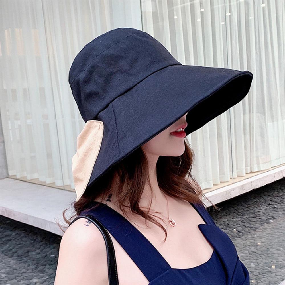 [AETRENDS] sombrero plegable de verano de ala grande con lazo grande para mujer Gorras de playa al aire libre Casquette Gorras Chapeu femenino Z-6876
